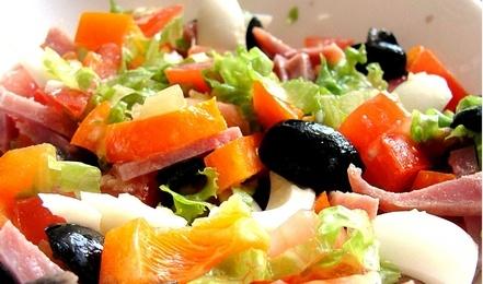 рецепт салата с ветчиной и помидорами и перцем