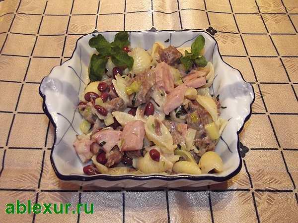 теплый салат с говядиной и фасолью