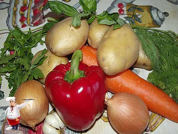 продукты для супа из овощей