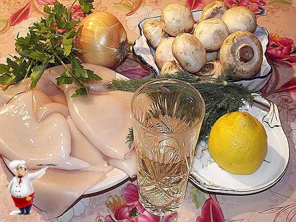 продукты для блюда, кальмары, грибы