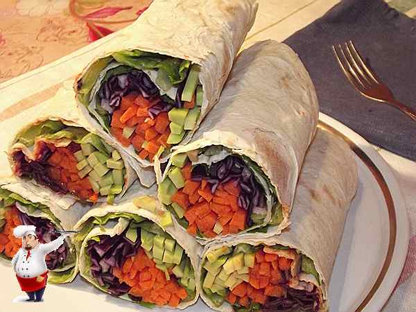 рецепт рулета из лаваша с овощами