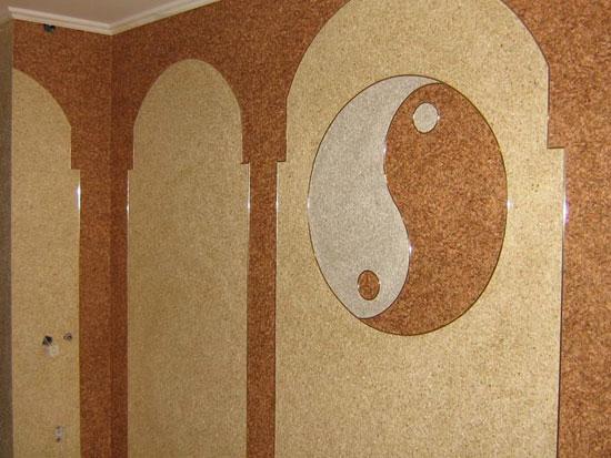 комбинация обоев в виде арки