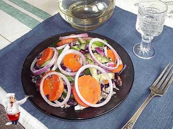 салат с тунцом и огурцом и другими овощами