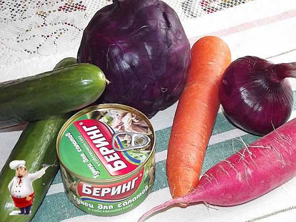 овощи для салата с тунцом