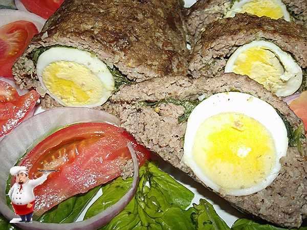 мясной рулет из фарша с яйцом и шпинатом