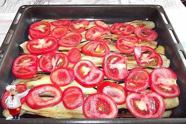 баклажаны помидоры на противне