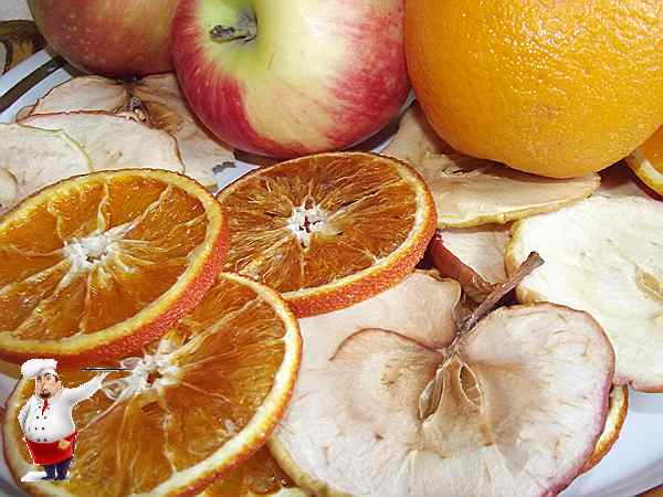 фруктовые чипсы из яблок и апельсин