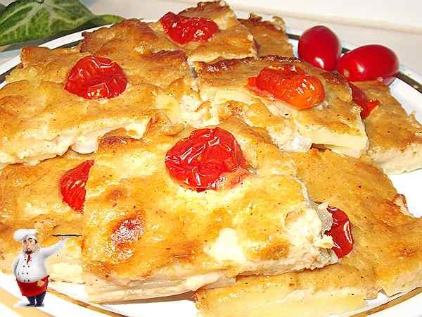 картофельный гратен с помидорами