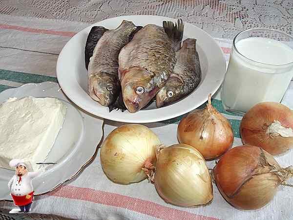 рыба, молоко, лук, масло