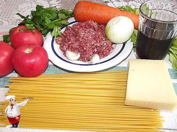 продукты для блюда, спагетти, помидоры, лук, вино
