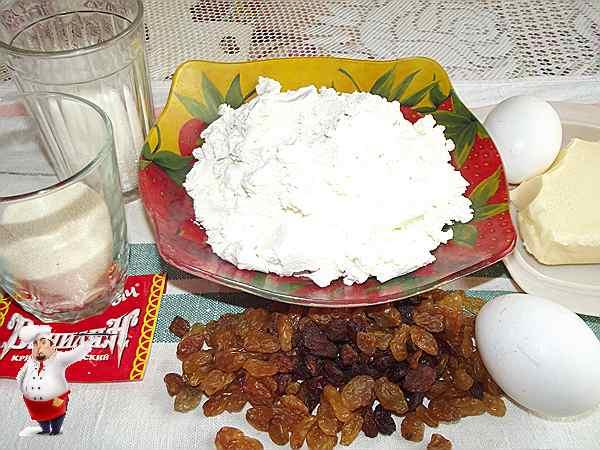 продукты для запеканки из творога с изюмом