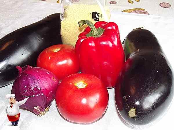 баклажаны с кускусом и овощами для блюда