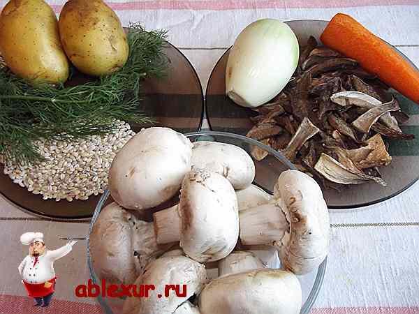 продукты для грибного супа из шампиньонов