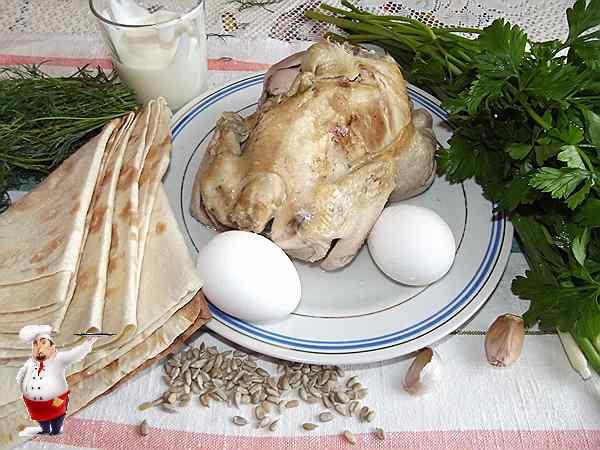 курица. яйца, лаваш, зелень
