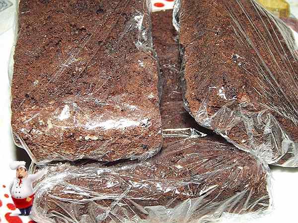 шоколадное пирожное завернутое в пленку
