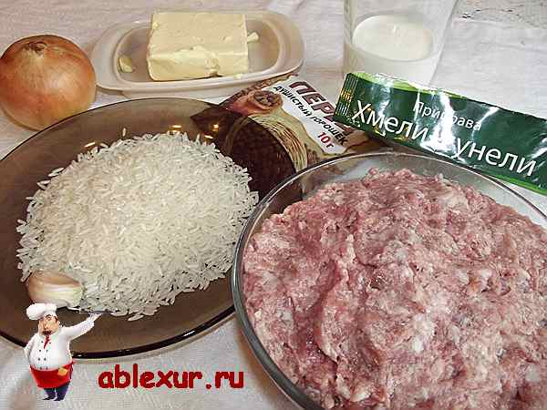 мясной фарш с рисом и приправами