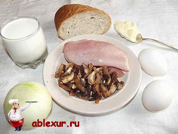 продукты для котлет куриных и соуса грибного