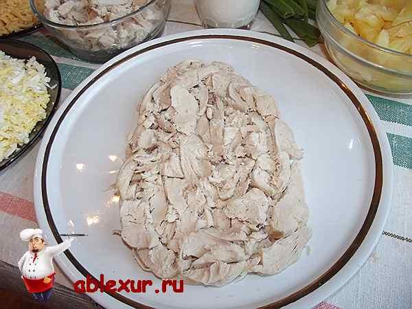 выложенный слой из курицы