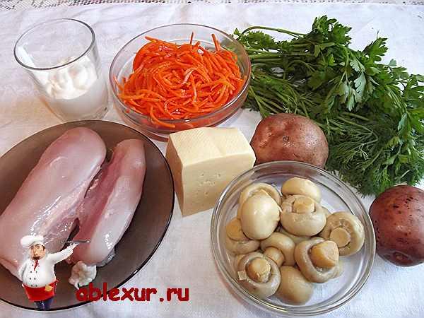 грибы с курицей для салата