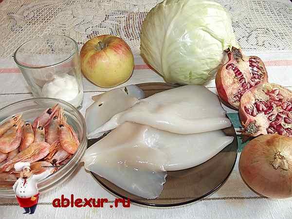 продукты для салата с кальмарами и креветками