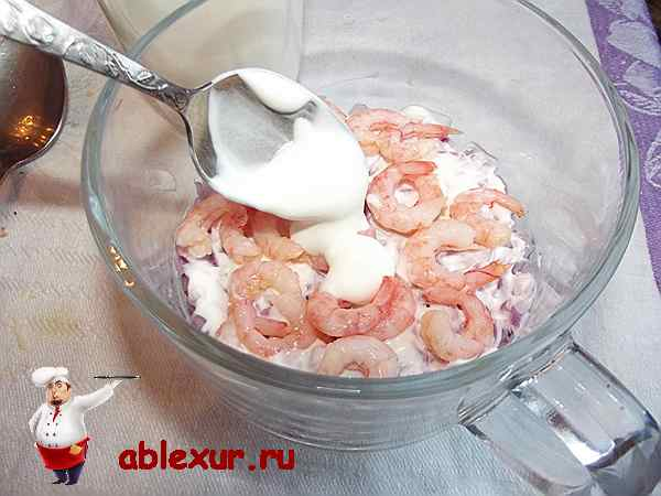 креветки в салатнике покрытые соусом