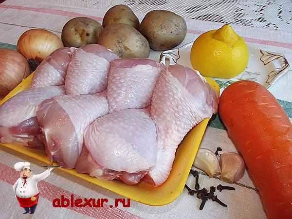 куриные ножки на подложке с овощами