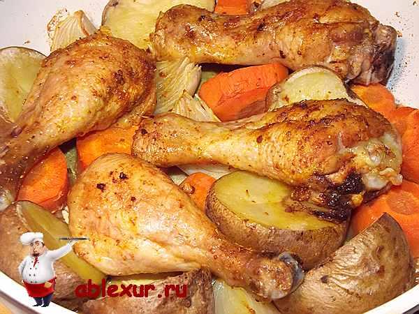 куриные ножки в духовке с овощами