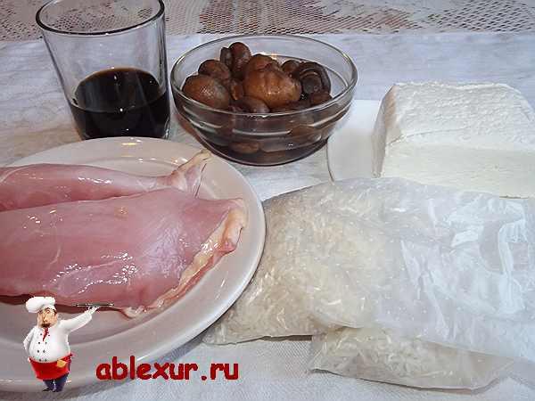 рис, курица, грибы, соевый соус