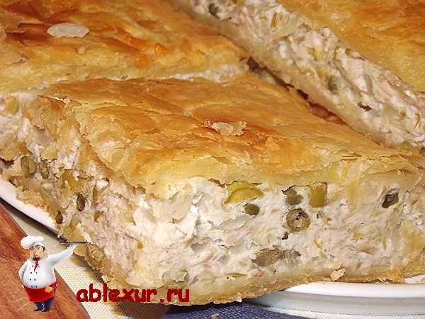 слоеный пирог с курицей и картошкой