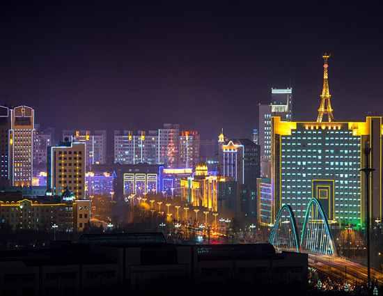 ночной Китай город Хэйхэ