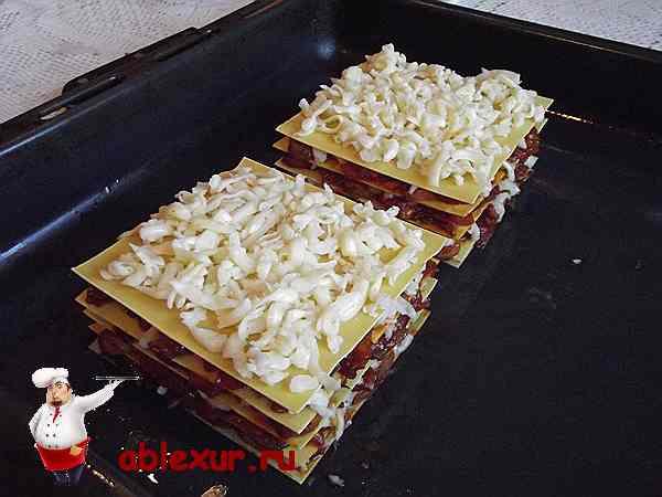 последний слой из сыра на лазанье