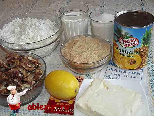 творог и ананасы для торта