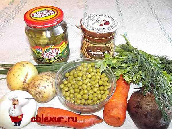 продукты для винегрета с грибами