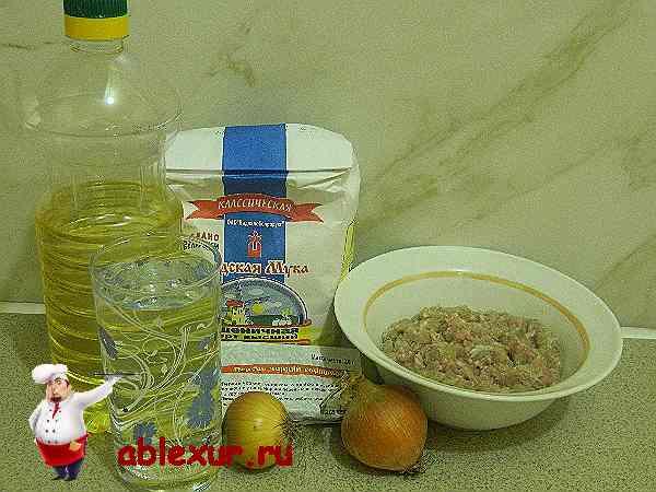 продукты для приготовления чебуреков с мясом