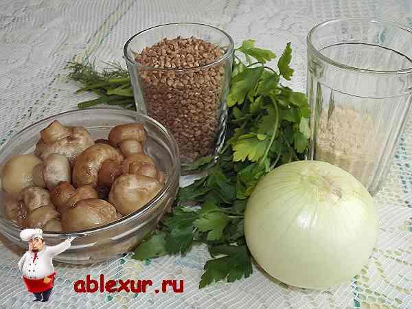гречневая крупа, грибы, репчатый лук, зелень