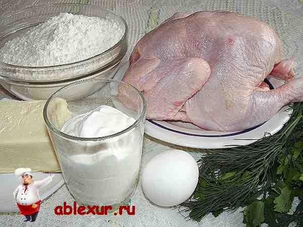 мука, курица, маргарин, яйцо, сметана, укроп, петрушка