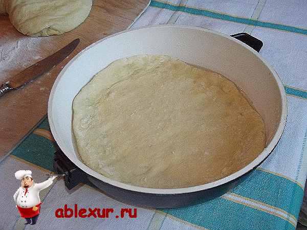 лепешка для пирога в смазанной маслом форме