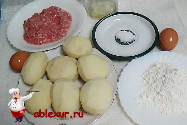 картошка, мясной фарш, яйца, мука для драников