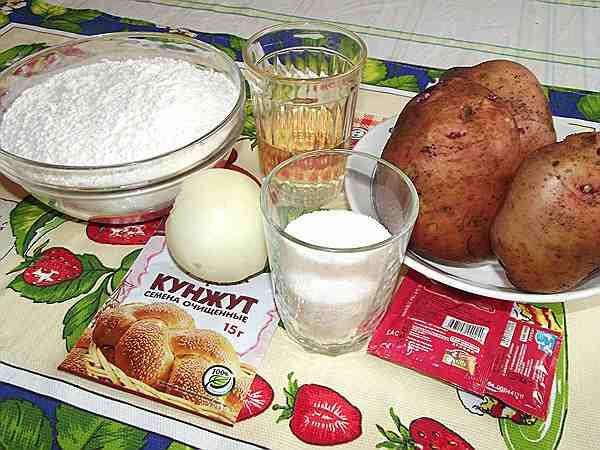 мука, картофель, масло, сахар, дрожжи для пирога