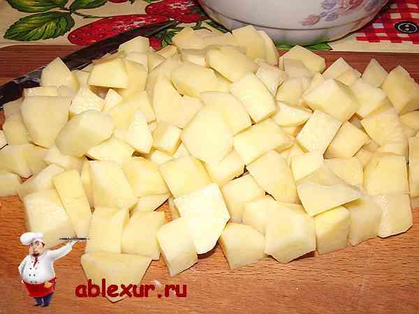 картофель для супа нарезанный кубиками
