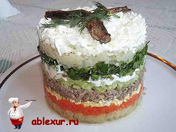вкусный салат со шпротами рецепт с фото