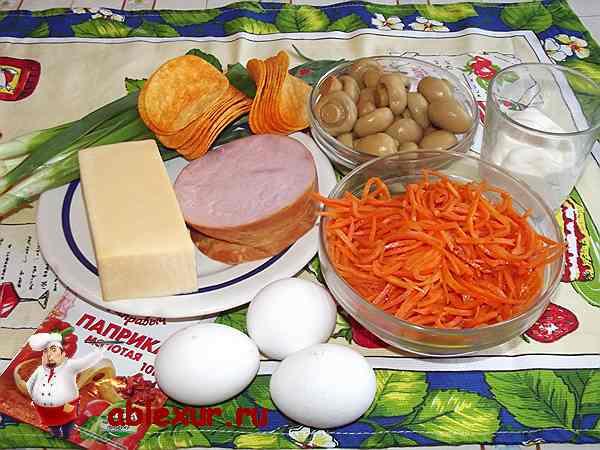 ветчина, сыр, морковь по-корейски, чипсы, яйца для салата