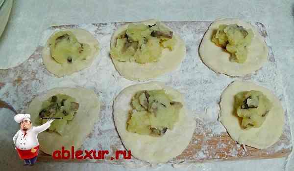 начинка из картошки и грибов на кружочках из теста