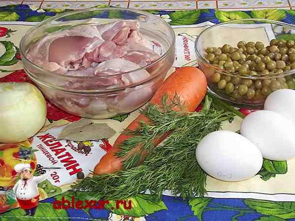продукты для заливного, курица, яйца, морковь, желатин