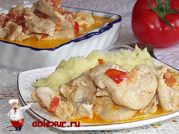 куриная грудка в сливках с картофельным пюре