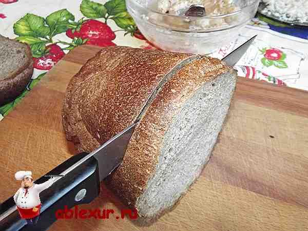 режу ржаной хлеб тонкими ломтиками