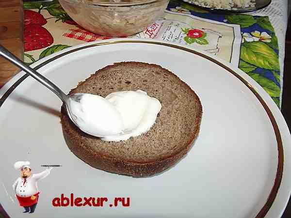 смазываю ломтик черного хлеба майонезом