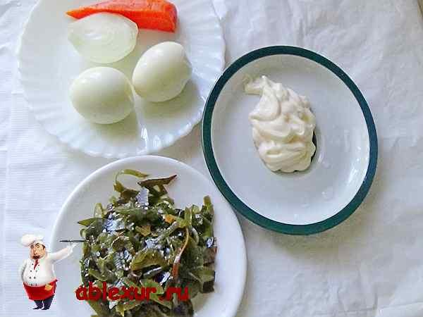морская капуста, яйца, морковь для салата