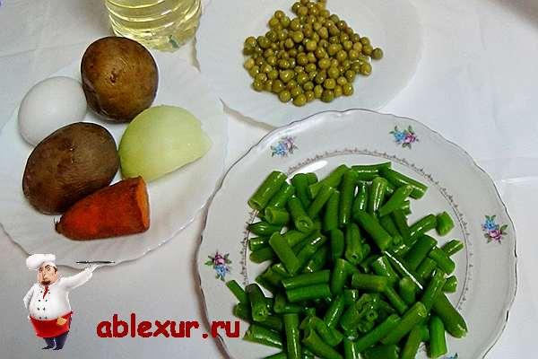 продукты для салата со стручковой фасолью
