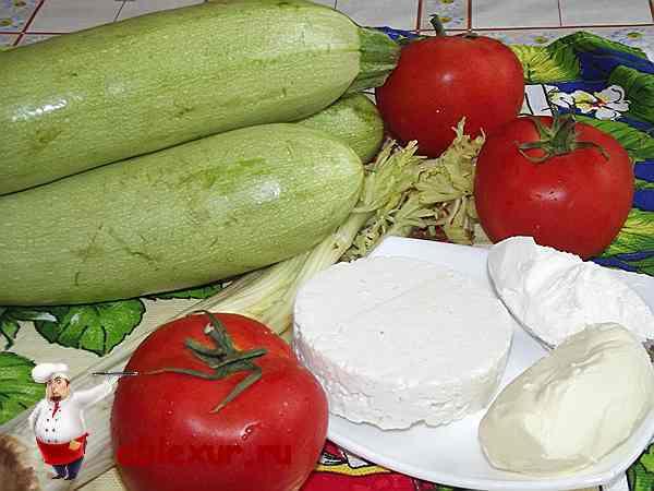 кабачки, помидоры, сыр брынза, сельдерей, сливочное масло, мука